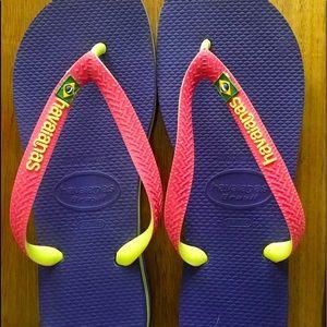 Havaianas Brazil logo flip flops purple/pink sz7-8
